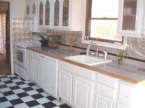 Aluminum Kitchen Backsplash White Kitchen Cabinets With Copper Backsplash Quicua