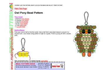pony bead owl pattern animal theme patterns pearltrees