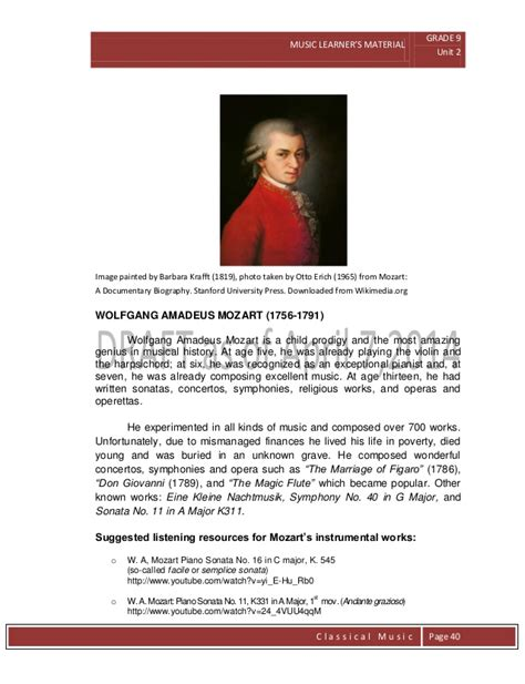 mozart documentary biography k to 12 grade 9 learner s material in music