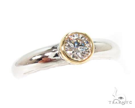mens 18k yellow gold bezel platinum wedding ring 36636