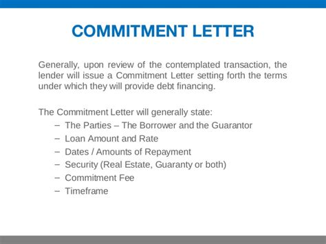 Commitment Letter Floating Rate Real Estate Investing 101 Financing