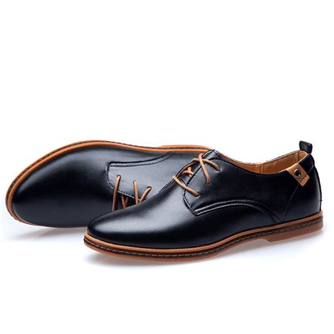 comfortable oxfords eu style flats sapatos male lace up big size casual shoes