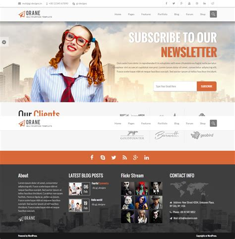 theme wordpress newsletter orane an evolutionary wordpress theme by