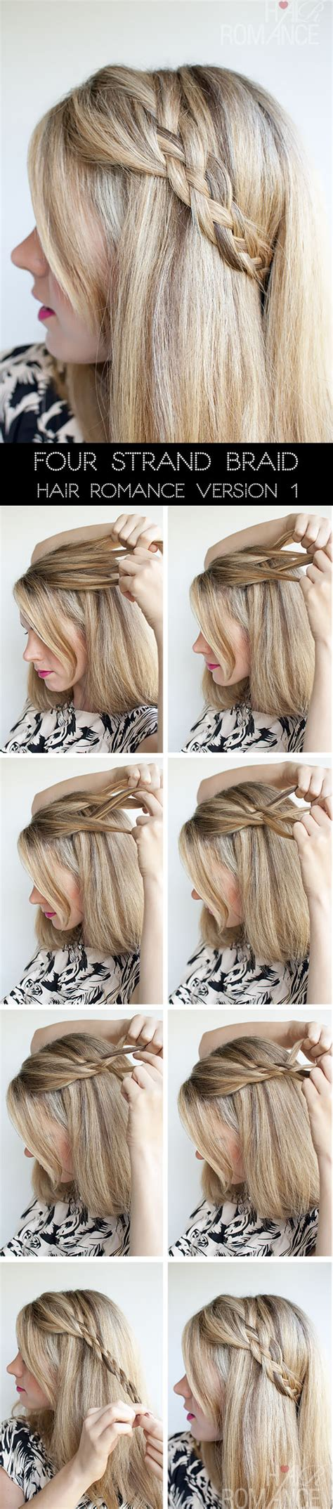step by step braid hair hairstyle tutorial four strand braids and slide up