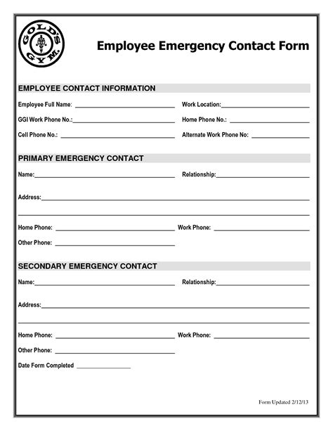emergency contact form template employee emergency contact information sheet pictures to