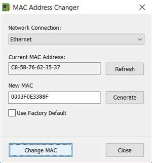 amac address change mac address changer it sles