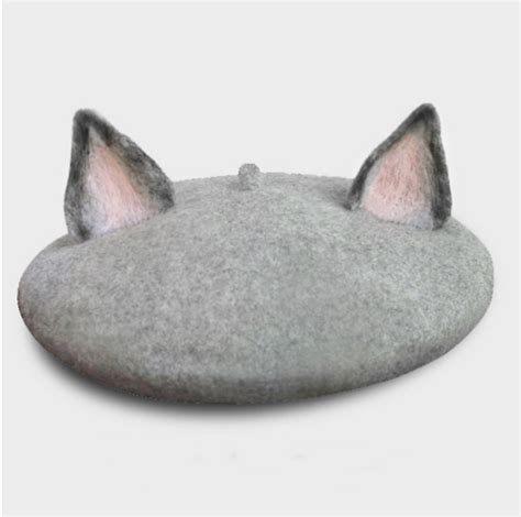 Cat Beret Hat once upon a time handmade animal grey cat orange fox beret
