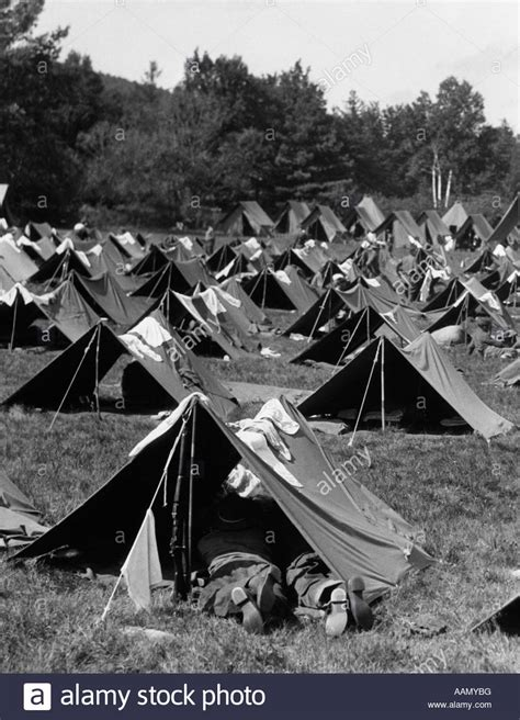 Around The Tents Veiled At Heatherette 2 by 1940s World War Ii Soldier Pup Tents Stock Photo 12666099