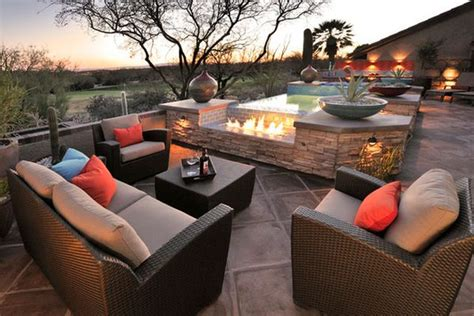 modern terrace furniture eye catching modern outdoor fireplaces turn the patio into a dreamy retreat