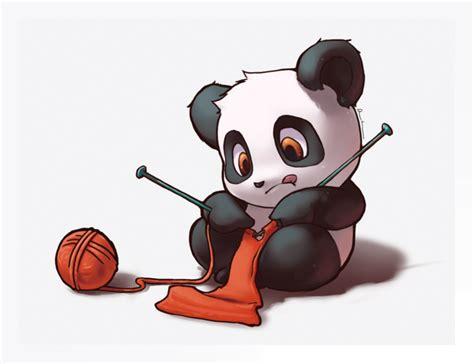 panda mangas panda tricotant trop mignon