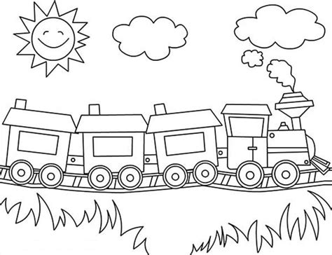 sun is smiling over a train coloring page color luna