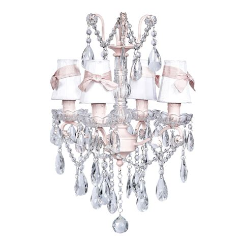 White And Pink Chandelier Four Arm Glass Center Chandelier