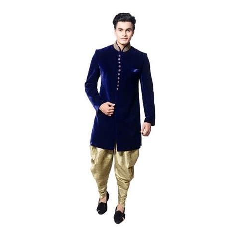 buy utsav fashion blue velvet readymade sherwani online