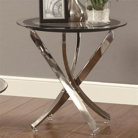 Coaster 702587 Silver Glass End Table A Sofa