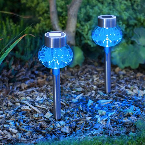 garden stake lights 2 blue led stainless steel solar stake lights lights4fun