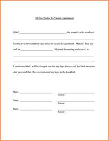 30 day move out notice template 6 sle letter of moving out of apartment notice