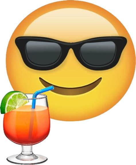 cocktail emoji quot sunglasses and drink emoji sticker quot stickers by
