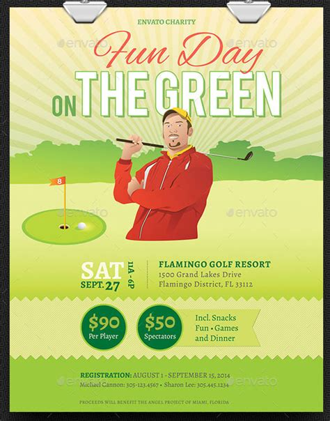 fundraiser poster template vector illustration of golf tournament invitation layout