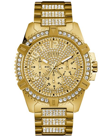 GUESS Men's Crystal Gold Tone Stainless Steel Bracelet Watch 46mm U0799G2   Watches   Jewelry