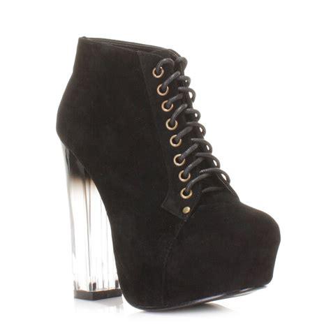 womens perspex block heel lace up suede look platform