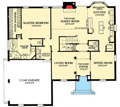 first floor plan colonial home with first floor master 32547wp architectural designs house plans