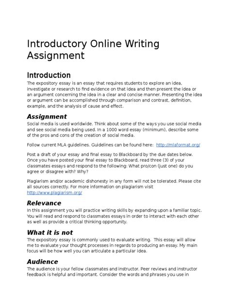 Definition Essay Assignment by Janelle Cofey Writing Assignment Essays Social Media