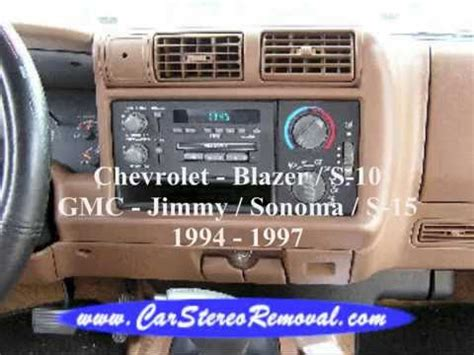 chevrolet blazer   gmc jimmy sonoma  stereo removal youtube