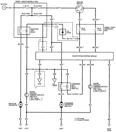 honda accord coupe 94 fan controls circuit and wiring diagram
