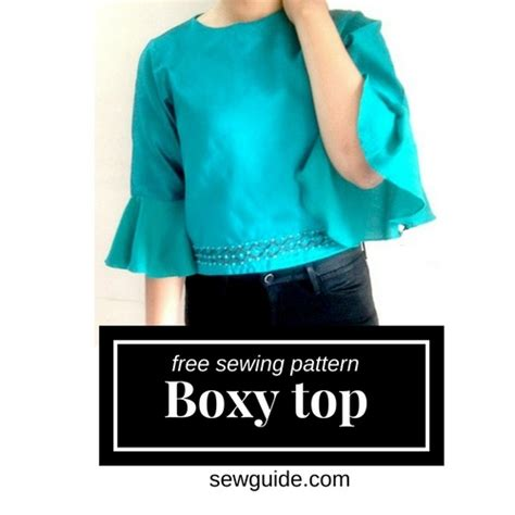 Boxy Bordir Sleeve by Boxy Top With Flute Sleeves Free Sewing Pattern Sew Guide