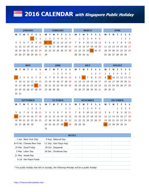 Calendars With Holidays 2016 Singapore Holidays Calendar