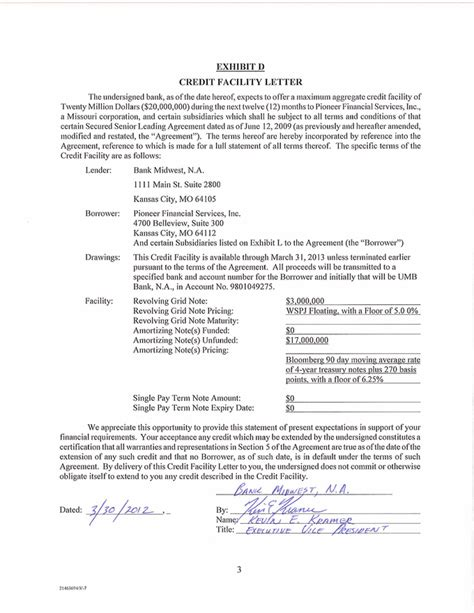 Letter Of Agreement For Use Of Facility Exhibit10 37