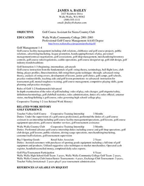 resume exles amazing 10 best college golf resume template for free college golf