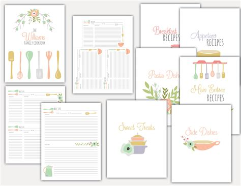 8 best images of family recipe binder free printables