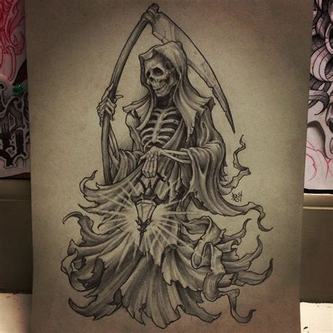 badass tattoos drawings the grimmiest of reapers pencil and white charcoal