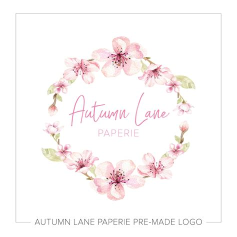 Floral In Pink watercolor pink floral wreath logo j53 autumn paperie