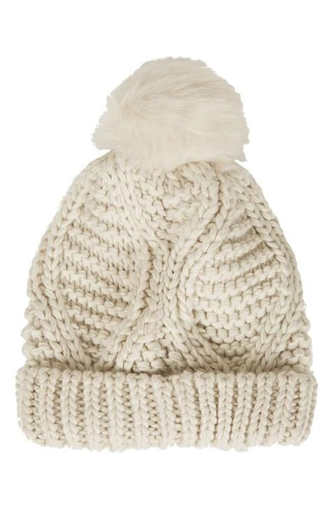 Topshop Cable Knit Pompom Beanie Topshop At Nordstrom