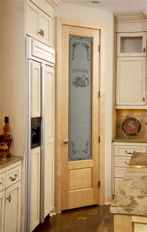 Kitchen Pantry Cabinet Refridgerator 8 0 birch pantry door with panel below traditional