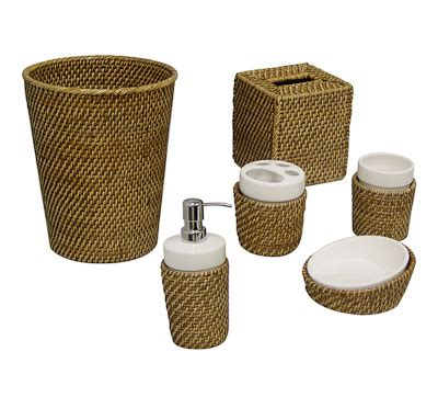 Wicker Bathroom Accessories On Six Piece Bathroom Rattan Bathroom Accessories
