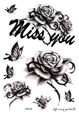 missing you tattoos miss you roses temporary