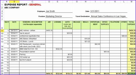 sle expense report 10 expense sheet excel template exceltemplates