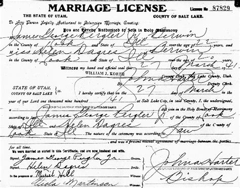 Utah Vital Records Marriage Certificate Pergler Family History George Pergler 1918