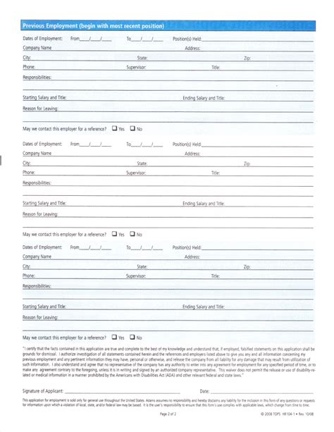 printable employment application pdf best photos of printable blank application for employment