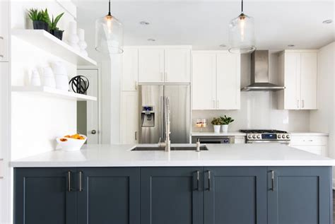 Two Tone Cabinets Kitchen by White Kitchen With Navy Island Contemporary Kitchen
