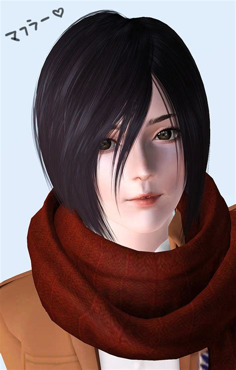 attack on titan sims 3 hair mikasa muffler kewai dou
