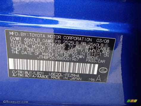 lexus blue color code 2008 lexus is f color code photos gtcarlot com