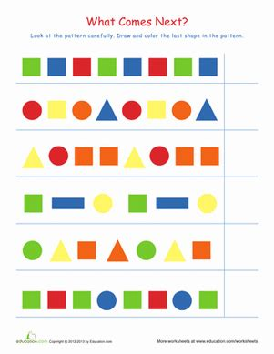 pattern worksheet for 1st grade recognizing patterns 1 worksheet education com
