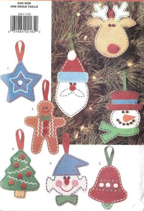 christmas tree ornaments sewing pattern reindeer snowman