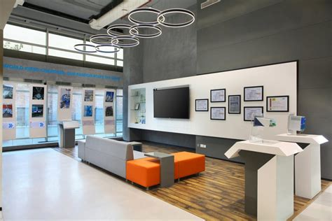 the office design has industrial exposed feel