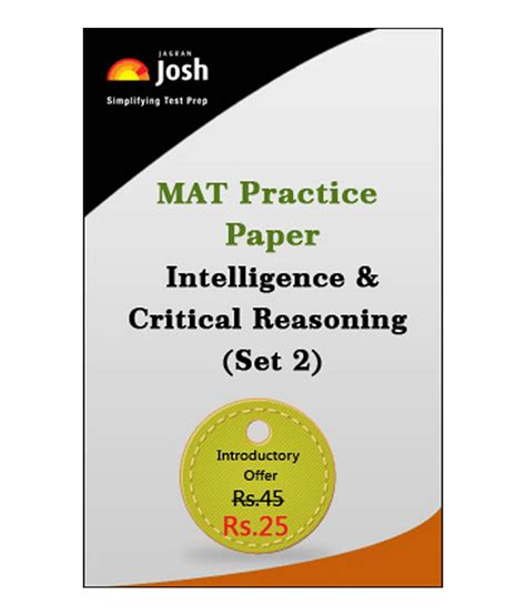 Mat Mock Test by Mat Practice Paper Intelligence Critical Reasoning Set 2 Test By Jagranjosh Buy