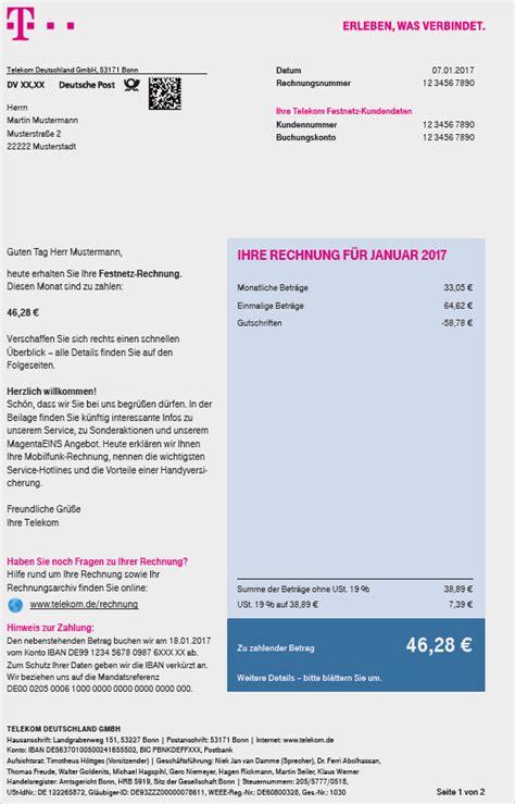 Muster Telekom Rechnung Ihre Festnetz Rechnung Telekom Hilfe